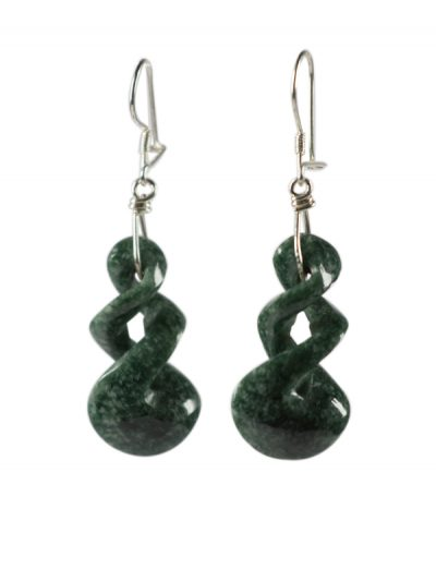 Dark Green Twist Earrings
