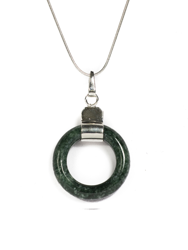 Jade circle pendant on silver necklace simbolica fair trade jade circle mozeypictures Gallery