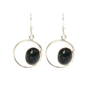 Dark Green Jade Eye Earrings