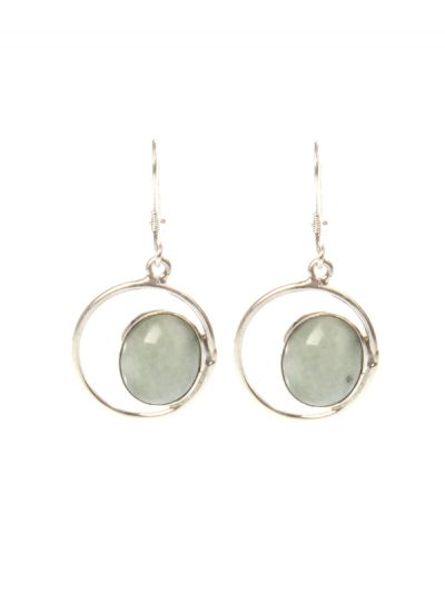 Light Green jade eye earrings
