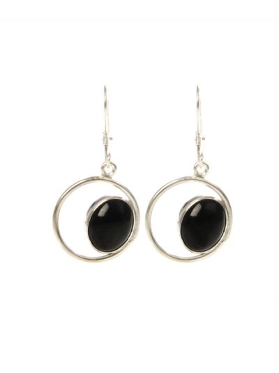 Black jade eye earrings