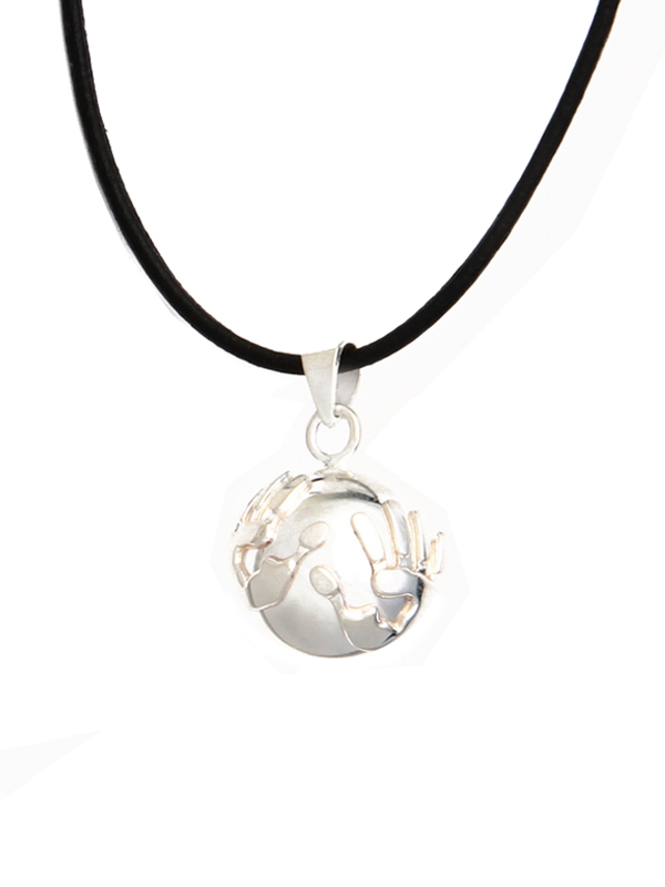 Harmony ball pendant hands on adjustable suede necklace simbolica harmony ball hands aloadofball Image collections
