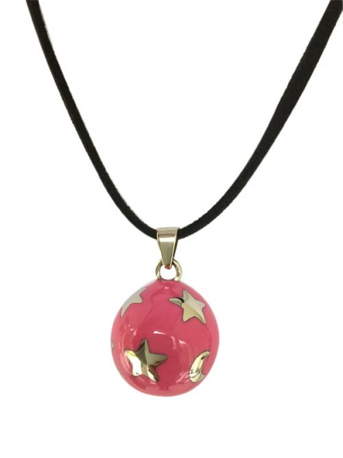 maternity necklace pink with stars