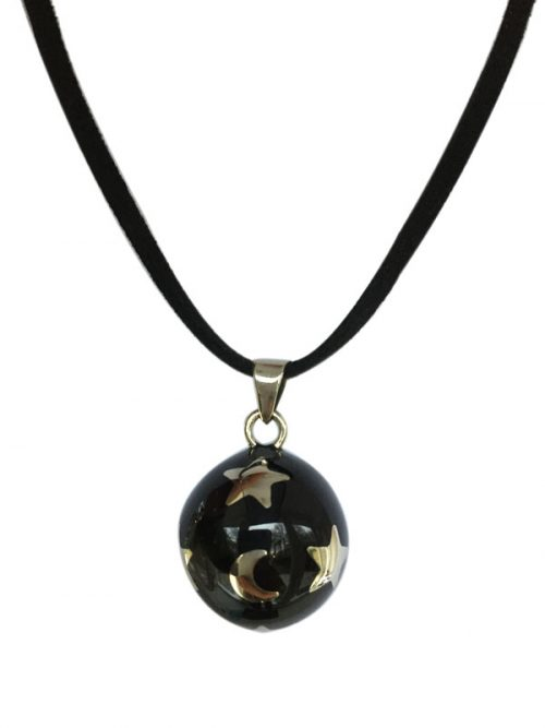 maternity necklace black with stars