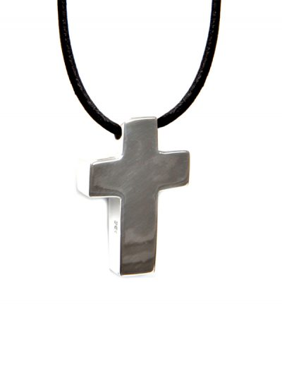 Silver cross symbol leather