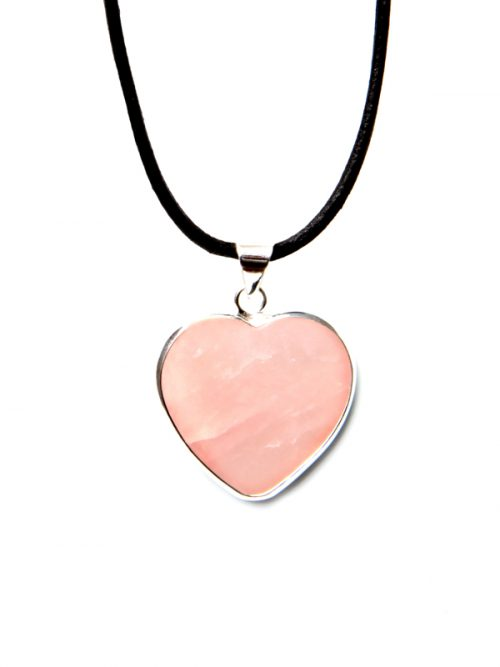 Heart rose quartz leather