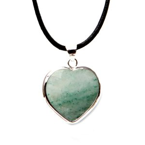 Heart green quartz leather