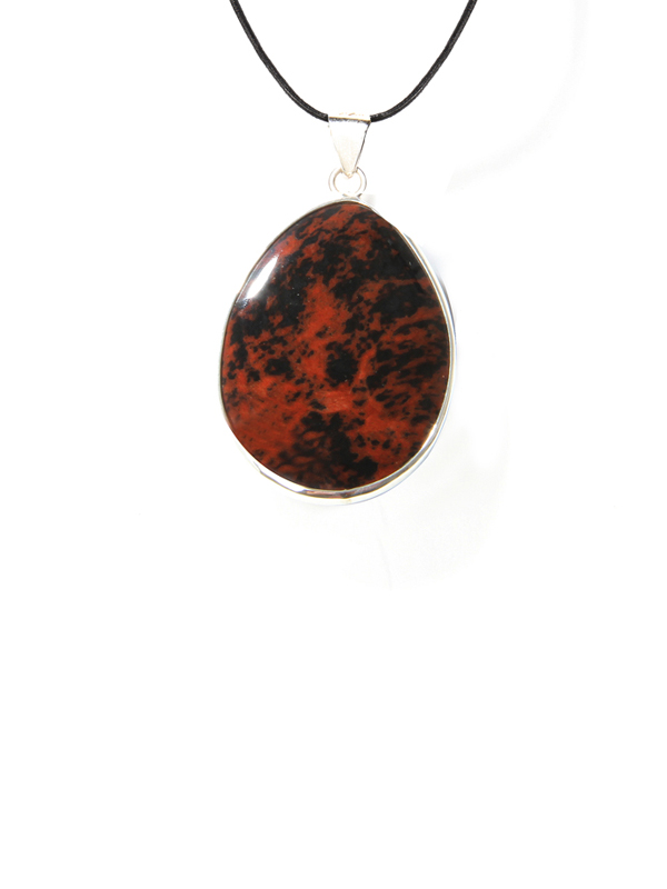 Mahogany obsidian pendant leather necklace simbolica fair trade drop mahogany obsidian leather aloadofball Image collections