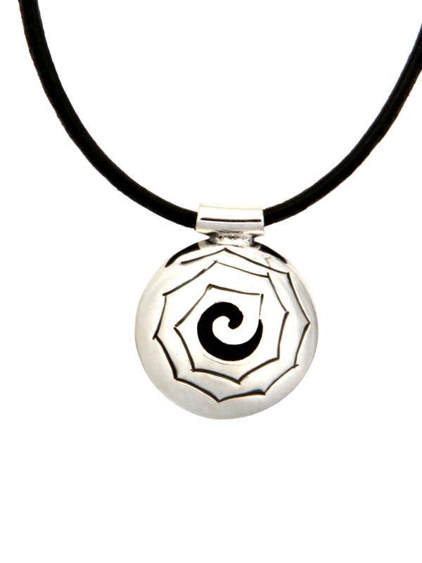 silver shell pendant leather