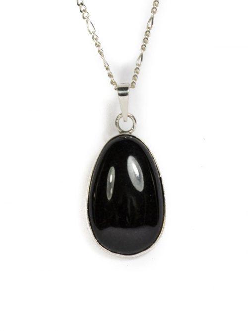 Simbolica zwarte hanger van jade en zilver