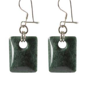 Simbolica oorhangers van donkergroene jade zilver