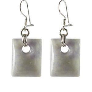 Simbolica rechthoekige oorhangers van lila jade zilver
