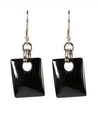 Simbolica oorhangers van zwarte jade zilver
