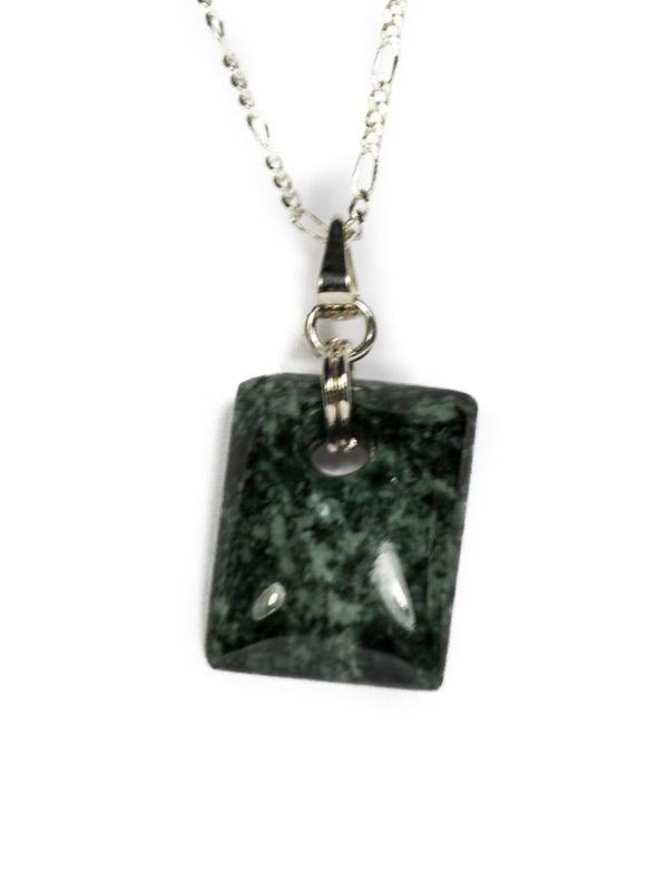 Simbolica donkergroene jade hanger rechthoek