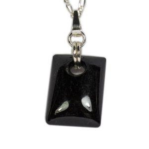 Simbolica zwarte jade hanger rechthoek