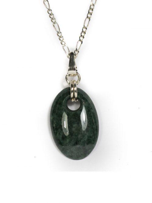 donkergroen jade ovale hanger donkergroene jade
