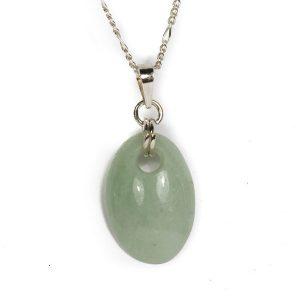 Simbolica ovale hanger lichtgroene jade