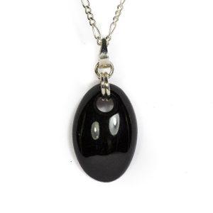 zwart jade ovale hanger zwarte jade