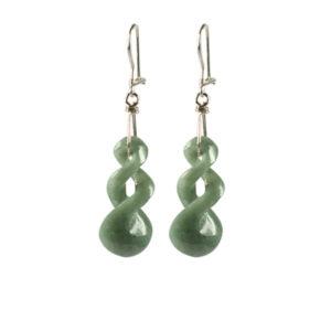 lichtgroen jade twist oorhangers van jade