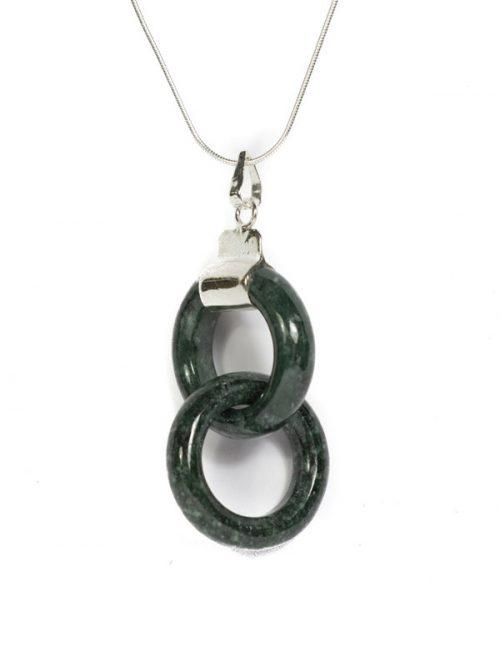 Simbolica hanger dubbele donkergroene ring van jade