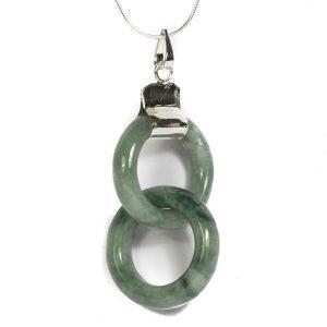 Simbolica hanger dubbele lichtgroene ring van jade