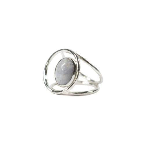 Simbolica zilveren ring lila jade oog