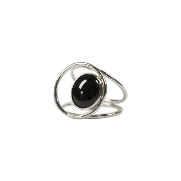 Simbolica zilveren ring met zwart jade oog
