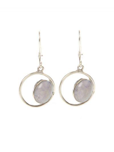 Simbolica zilveren oorhangers met lila oog van jade