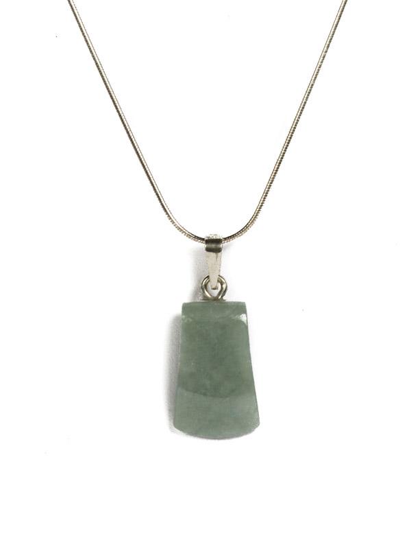 Simbolica lichtgroene Hacha Maya hanger van jade
