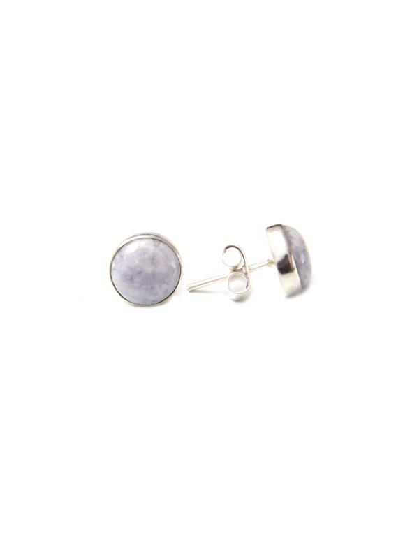 Simbolica lila jade oorknopjes van zilver