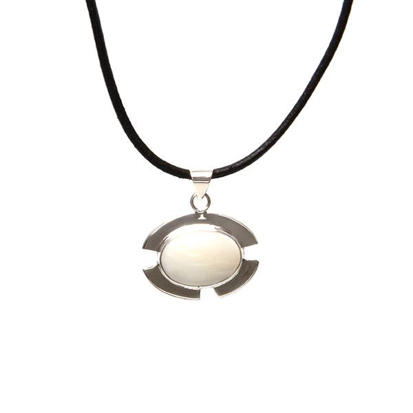 Simbolica zilveren hanger maansteen lederen ketting