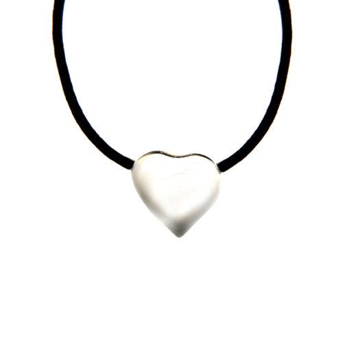 Simbolica hanger hart met lederen ketting
