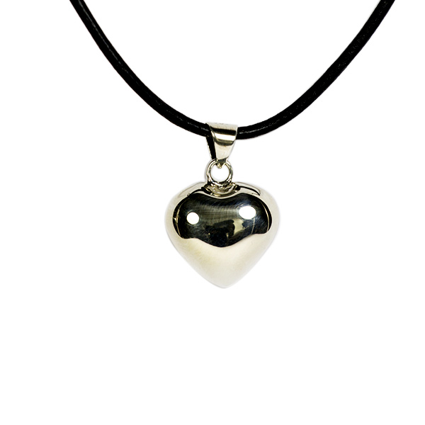 Simbolica hanger zilver hart aan lederen ketting