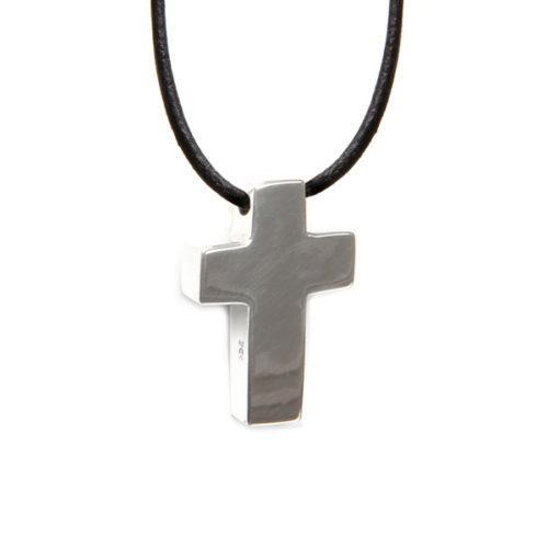 Simbolica hanger kruis aan lederen ketting