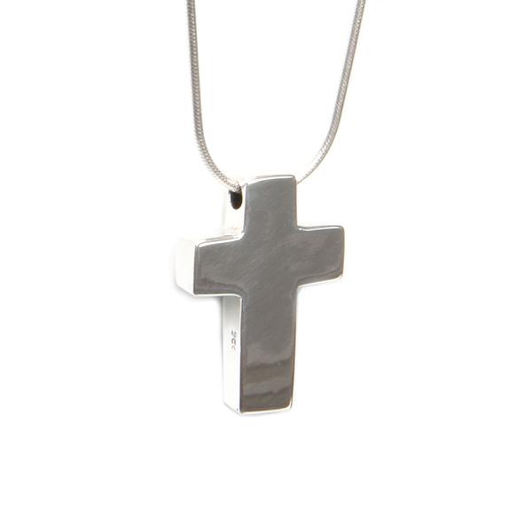 Simbolica hanger zilveren kruis aan zilveren ketting