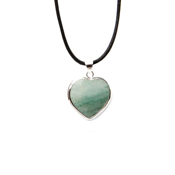 Simbolica hanger groene kwarts hart lederen ketting