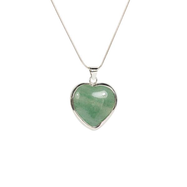 Simbolica hanger groene kwarts hart zilveren ketting