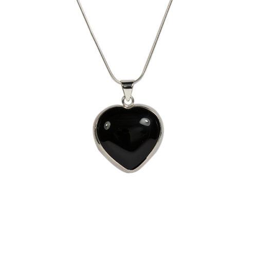 Simbolica onyx hanger hart zilveren ketting