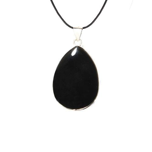 Druppel obsidiaan leer
