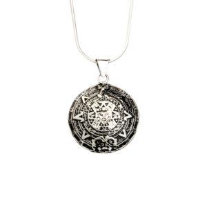 Simbolica hanger azteekse kalender met zilveren ketting